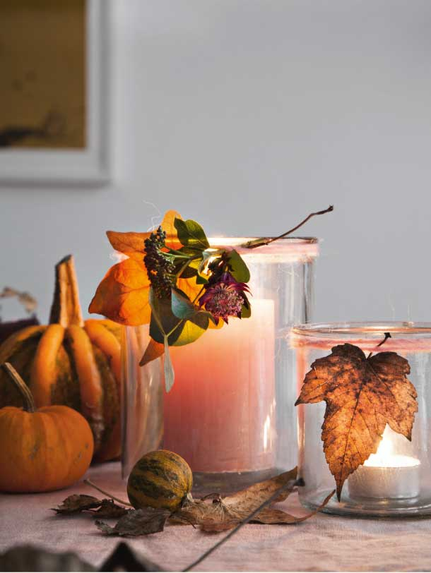 Nem efterårs dekoration med lys og græskar pretty and elegant fall and halloween decorating ideas