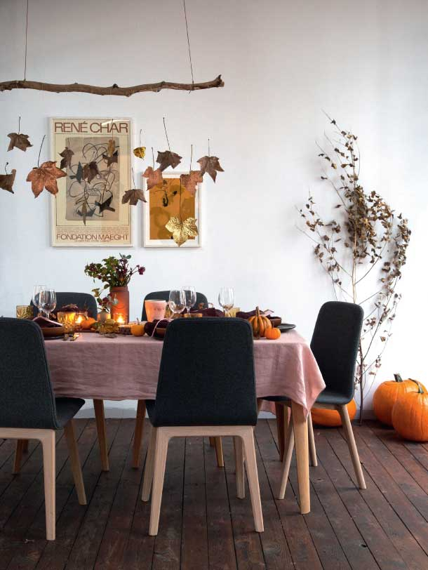 elegant efterårs og halloween borddækning og dekorationer DIY indoor halloween and fall decorations