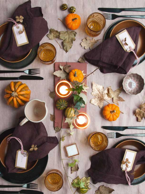 elegant og festlig efterårs og halloween borddækning classy fall and halloween table decorating ideas